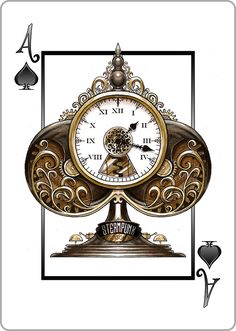 #Steampunk Ace of Spades: Mechanical Clock Tower - find our playing cards #goggledeck here: https://www.steampunkgoggles.com/product-category/accessories/playing-cards/
