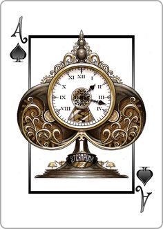Ace of Spades: Mechanical Clock Tower- Anónimo.  Além de não ser o exemplo indicado para o espelhamento/inversão neste desenho é possivel observar o que podia ser possivelmente um relógio de parede antigo, onde a cor predominante é o castanho, derivado da madeira escura bastante usada nos séculos passados. Recria assim um lugar imaginário num simples Às de espadas.