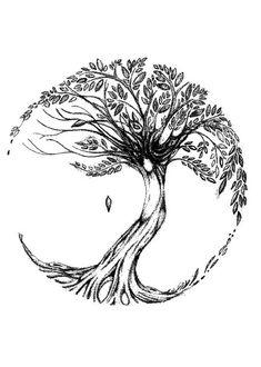 A nice tree of life tattoo design with one falling leaf. Kunst Tattoos, Neue Tattoos, Body Art Tattoos, Small Tattoos, Tattoo Life, I Tattoo, Tree Of Life Tattoos, Celtic Tree Tattoos, Oak Tree Tattoo