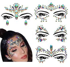 Festival Clothing Rave Accessories Face Jewels Gems Stickers Carnival Halloween Costume Glitter >>> Be sure to check out this awesome product. (As an Amazon Associate I earn from qualifying purchases) Festival Clothing, Festival Outfits, Festival Face Jewels, Face Rhinestones, Crystal Makeup, Rave Accessories, Rainbow Face, Face Gems, Face Stickers