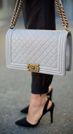 Chanel Grey Vintage Metal Quilted Leather Shoulder Bag by Gal Meets Glam