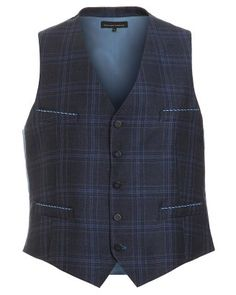 Holland Esquire Navy Blue, Waistcoat, Slim Fit Prince of Wales Check 318