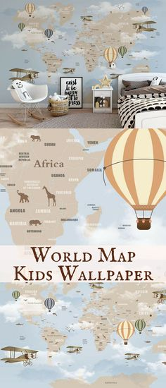 I wish I had this world map wallpaper on my bedroom wall when I was a kid! I loved dreaming about traveling the world. #worldmap #ad #kidsroom #wallpaper