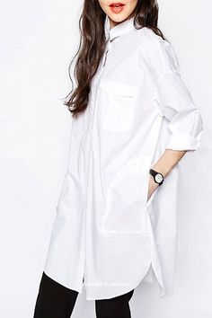 Polo Collar Solid Color Pocket Dress WHITE: Dresses 2016 | ZAFUL