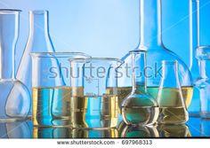 Lab glassware, science laboratory research and development concept
