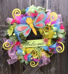 Hey, I found this really awesome Etsy listing at https://www.etsy.com/listing/183680419/spring-summer-deco-mesh-wreath-welcome