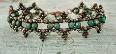 Linda's Crafty Inspirations: Bracelet of the Day: Saturn Bracelet - Turquoise & Chocolate