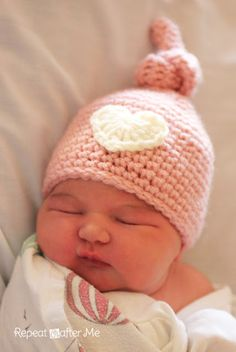 Crochet Newborn Knot Hat Pattern by Sarah at Repeat CRafter Me (Very similar to the Elf Hat pinned here,,that has become unavailable)