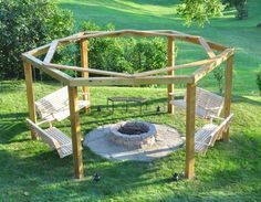 Porch Swing Fire Pit | Break out the marshmallows and coat hangers because this porch swing fire pit will add a beautiful and fun touch to your backyard.
