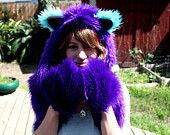 Furry Cat Animal Hat - Purple, Teal and Black Cheshire Cat Inspired Kokoro Hood - Made to Order #EasyPin