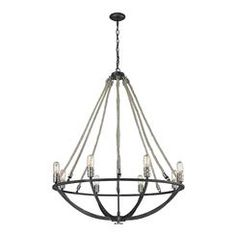 Elk Lighting 63058-8 Natural Rope 8 Light Chandelier In Silvered Graphite With Polished Nickel Accents