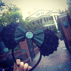 Green strip maid haunted mansion ears by AudreysClosett on Etsy, $26.00