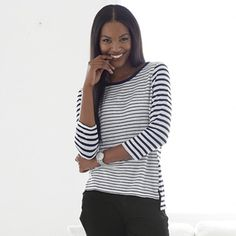 The White Company US. Long Sleeve Linen Mixed Stripe T-Shirt - White/Black   With two contrasting stripe layouts, this stand-out T-shirt will add another dimension to simple everyday styles. Made from soft linen jersey with slim three-quarter sleeves, we think this looks lovely paired with relaxed white denim. Pinning from the UK? -> http://www.thewhitecompany.com/clothing/tops/casual-tops/long-sleeved-linen-stripe-tshirt--white/black/
