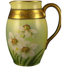 "Donath Studios Daisy Design Pitcher (Signed ""Kitt"" for Joseph R. Kittler/c.1906-1928)"