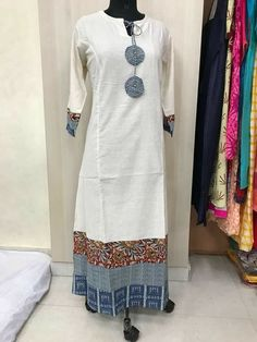 White and blue always works together Salwar Designs, Kurta Designs Women, Kurti Designs Party Wear, Dress Neck Designs, Designs For Dresses, Blouse Designs, Frock Fashion, Fashion Outfits, A Line Kurti
