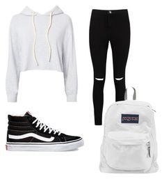 """Black white style #vans #jansport"" by anggierozyan on Polyvore featuring Monrow, Boohoo, Vans and JanSport"