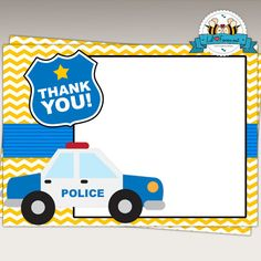 Police Birthday Party Printable Thank You Cards