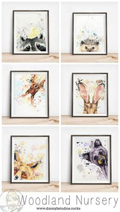 Woodland Nursery Art, these are the perfect woodland art prints to hang in your woodland nursery, choose from the fox, rabbit, bear, squirrel, hedgehog, raccoon or owl!
