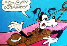 Pateta é surpreendido tirando uma soneca, ilustração de Walt Disney.