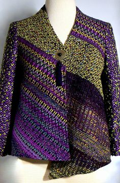 Featuring handwoven fine art clothing by master weaver and designer Kathleen Weir-West. Coats, Jackets, Vests and Accessories. Loom Weaving, Hand Weaving, Woven Scarves, Tapestry Fabric, Kinds Of Clothes, Textile Design, Couture, Wearable Art, Sewing Patterns