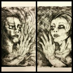 'Divided' X2 16 x 24in Drypoint print