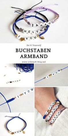 DIY name bracelet in macrame style- DIY Namensarmband im Makramee Stil Simple instructions to make a DIY letter bracelet. Great idea as a gift for a birthday or hen party! Diy Jewelry Unique, Diy Jewelry Making, Bracelet Making, Jewelry Crafts, Bracelet Crafts, Jewelry Ideas, Armband Diy, Armband Tattoo, Diy Accessoires