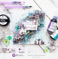Hello, Everyone! Our palette this month is just fabulous! I am not the big lover of purple, but in combination with teal it looks absolutely fantastic. I used three tones of Color Bloom sprays and Art Stones to make interesting texture. I cut some elements from the Lavender collection and added mould shapes. You can watch how I mixed it all together in the video tutorial that I prepared for you below! ~Nadya Drozdova