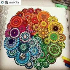 Que demais! By @marx3la ・#mandala #jardimsecreto #secretgarden #johannabasford #desenhoscolorir Mandala Doodle, Mandala Art, Croquis Mandala, Mandala Painting, Mandala Drawing, Zen Doodle, Dot Painting, Doodle Art, Watercolor Painting