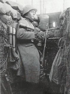 German sentry in a trench, World War I.