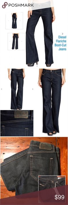 ⭐️Fab NWT Dark Wash Boot Cut Jeans by Diesel⭐️ NWT, MSRP $180. Diesel 'Flariche' regular boot cut jeans in 008AA/dark wash. Size 27, per manufacturer label jeans are a 27x32. Nice stretch, fabric content: 98% cotton/2% spandex. Super soft and look great dressed up or down! (LZY) Diesel Jeans Boot Cut