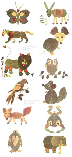 leaves Animals - Fall Crafts For Kids Leaf Crafts, Bird Crafts, Nature Crafts, Fun Crafts, Arts And Crafts, Paper Crafts, Diy Paper, Autumn Crafts, Fall Crafts For Kids
