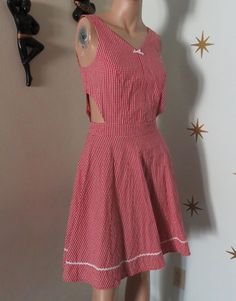 red white gingham cutout Steady Clothing summer dress pinup rockabilly VLV S #RockSteady #Sundress