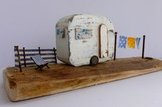 A Kirsty Elson creation. A very clever lady! Wooden Projects, Wooden Crafts, Art Projects, Clay Houses, Miniature Houses, Wood Houses, Cute Baby Gifts, Driftwood Crafts, Wood Creations