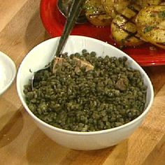 Lentils with pancetta by Mario Batali Sandwich Sides, The Chew Recipes, Mario Batali, Italian Recipes, Italian Foods, Vegetable Sides, Holiday Dinner, Savoury Dishes, Side Dishes