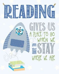 """Items similar to Read children's space theme - Series of TWO """"reading"""" prints on Etsy Reading Quotes Kids, I Love Reading, Kids Reading, Quotes Children, Reading Posters, Reading Club, Happy Reading, Reading Books, I Love Books"""