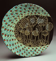 "Marcy Neiditz- ""Sgraffito Plate- Turquoise and Black"" Sgraffito using Velvet Underglaze and HF-9 Zinc Free Clear"