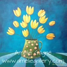 """Golden Moments"" #art #floral #painting #contemporary #modern #pretty #yellow #tulips #vase http://www.ameliegallery.com"