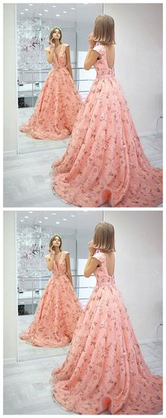 Stylish pink floral pattern long prom dress, pink evening dress P0952 #promdresses #longpromdress #2018promdresses #fashionpromdresses #charmingpromdresses #2018newstyles #fashions #styles #hiprom #ballgown