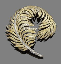 A diamond-set brooch Realistically designed as a curled textured feather, highlighted with single-cut diamonds, the shaft set with baguette-cut diamonds, diamonds approx. total, length fitted case by Collingwood of Conduit St. Feather Jewelry, Pearl Jewelry, Jewelry Art, Gold Jewelry, Jewelery, Vintage Jewelry, Jewelry Design, Unusual Jewelry, Modern Jewelry