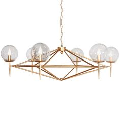 """Modern Pyramid Glass Globes Chandelier Hand Blown glass globes surround the pyramid lines of this mid-century modern style chandelier. Available in Gold-Leaf or Matte Black. Comes with 3' matching chain and canopy. (14""""Hx43""""W) 6-40watt"""