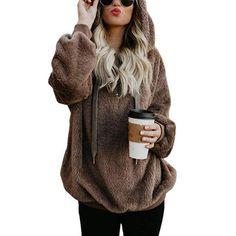 Women Fleece Sweatshirt Hoodie Zipper Up Sherpa Knit Soft Fluffy Pullover  Tops Tie Kangaroo 124147e04