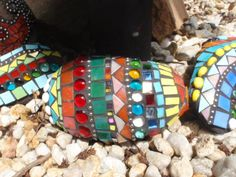 mosaic rocks by Poppins Mosaics and Crafts Mosaic Rocks, Stone Mosaic, Mosaic Glass, Glass Art, Mosaic Designs, Mosaic Patterns, Mosaic Wall, Mosaic Tiles, Arabesque