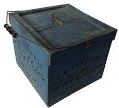 """A127 Late 19th century Egg carrier with the original blue paint and black stenciled advertising. The following advertisements, """" Reliable Egg Carrier Brooder Co. Quincy Ill There is also a patent date Nov 16 1897 . The lid has a locking , The piece was made for a Country General Store. Measurements are 12 1/2"""" xx 13 inches. A wonderful antique advertising piece."""