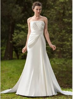 Wedding Dresses - $210.99 - Sheath/Column Strapless Watteau Train Satin Wedding Dress With Ruffle Beadwork  http://www.dressfirst.com/Sheath-Column-Strapless-Watteau-Train-Satin-Wedding-Dress-With-Ruffle-Beadwork-002012751-g12751