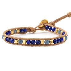 Blue Stone Mix Single Wrap Bracelet on Beige Leather