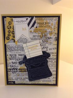Stampin' Up Tap Tap Tap stamp set. Paint splatters are From the Gorgeous Grunge set. Typeset speciality paper. Black and Hello Honey colors. Thinking of you card