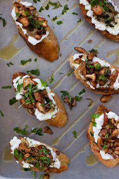 Crostini with wild #mushrooms and ricotta. #oliveoil