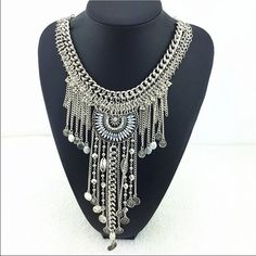 Luxury Necklace Silver necklace with long tassels, looks beautiful on ... Any questions please feel free to ask  Jewelry Necklaces