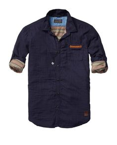 Bonded Shirt With Leather Chest Pocket - Scotch & Soda