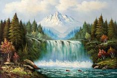waterfall images | Classic Waterfall Landscape - Landscape, oil paintings on canvas.